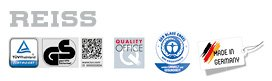 REISS Qualitätssiegel: TÜV Rheinland, Geprüfte Sicherheit, Quality Office, Der blaue Engel, Made in Germany